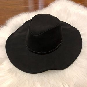 Faux suede black hat
